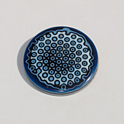 Rare Vintage Lea Stein Plastic Pin Brooch geometric laminated layered blue tones