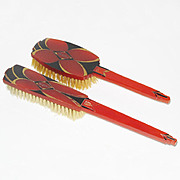 Vintage Set Agalin Amber Red Bakelite Hair Clothing brush 1920s Art Deco design