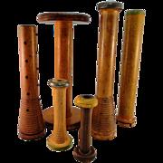 Vintage Wood Textile Spools Collection
