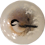 **Clearance** Norman Brumm Enamel on Copper Plate, Chickadee in the Snow