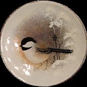 Norman Brumm Enamel on Copper Plate, Chickadee in the Snow