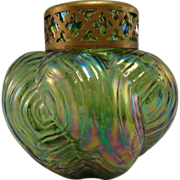 **Clearance** Bohemian Spiral Optisch Green Iridescent Posy Vase, c. 1910