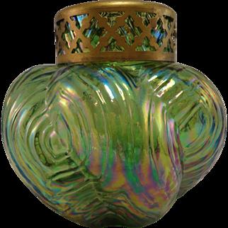 **Clearance** Bohemian Spiral Optisch Green Iridescent Posy Vase, c. 1910