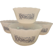 Mar-Crest Currier and Ives Glass Oven Ware Dessert Cups