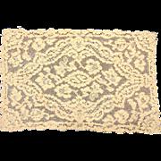 Ecru Needle Lace Panel, Floral  Pattern