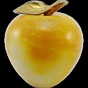 Vintage Alabaster Golden Apple Paperweight