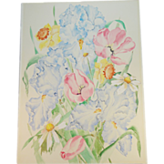 20th C Spring Flower Bouquet Watercolor Painting on Board