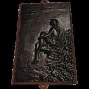 Victorian Cast Iron Panel, Girl Seated on Rocks
