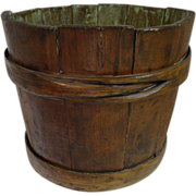 Early 19th C. Primitive Wood Stave Bucket