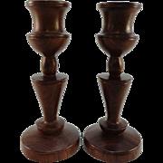 Pair of Turned Mahogany Candlesticks, C. 1925