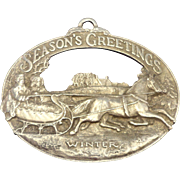 Currier & Ives Winter Scene 'Season's Greetings'  First Edition Pewter Ornament