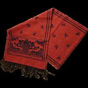 Elegant Women's  Reversible Wool Scarf, Red and Navy Print