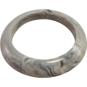Soft Grey Marbled Celluloid Monet Bangle Bracelet