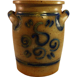 One Gallon Salt Glazed Crock, Cobalt and Yellow Ochre Decoration