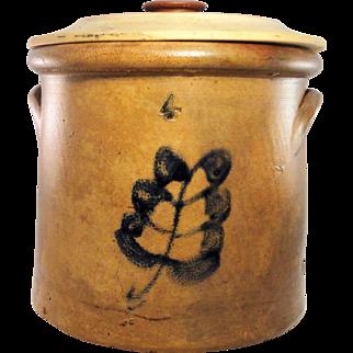 19th Century 4 Gallon Salt Glazed Crock w/lid, Cobalt Leaf Decoration