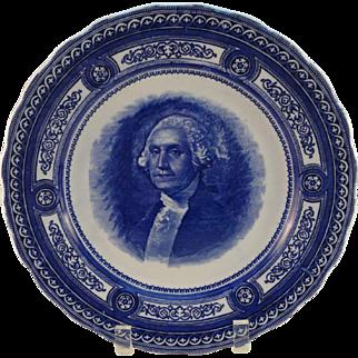 Royal Doulton George Washington Portrait Plate, Cobalt Blue