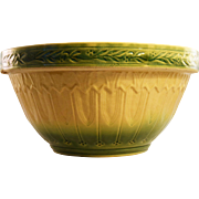 "Huge 12"" Yellow Ware Mixing Bowl, Green and Cream Glaze, circa 1910"