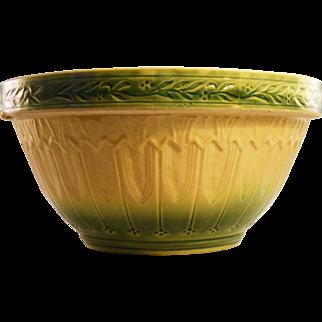 "Huge 12"" Yellow Ware Mixing Bowl, Green and Cream Glaze, circa 1910"