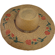Vintage Woven Straw Sun Hat with Stenciled Red Roses