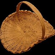 Large Vintage Oak Splint Flower Gathering Basket