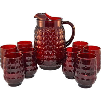 Gorgeous Anchor Hocking Ruby Red Bubble Glass Tea Pitcher and 8 Flat Tea Tumblers