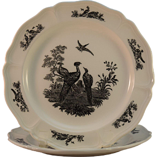 Wedgwood Black Transferware 'Liverpool Birds' Plate, Colonial Williamsburg Foundation