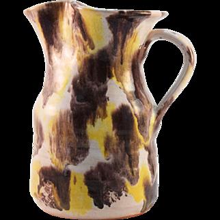 Williamsburg Pottery Polychrome  Glaze Redware Jug