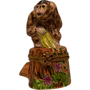 Limoges Monkey on Stump Trinket Box