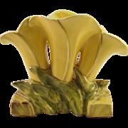 McCoy Flower Form Yellow Triple Lily Vase