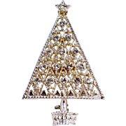 ca. 1950 Eisenberg Ice Rhinestone Christmas Tree Pin