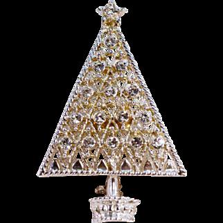 ca. 1950 Eisenberg Ice Rhinestone Christmas Tree Pin