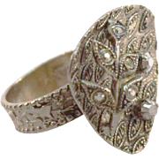Vintage Eloxal Aluminum and Faux Marcasite Ring, W Germany, Adjustable