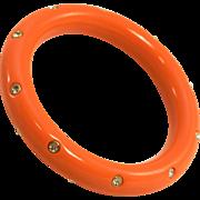 Bezel Set Rhinestone Studded Orange Lucite Bangle Bracelet