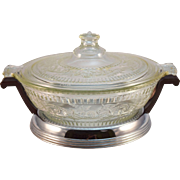 Ca. 1930 Pyrex Molded Floral and Scroll Pattern Casserole Dish and Carrier for Russakov Co