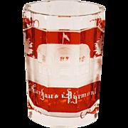1907 German Flashed Ruby Glass Souvenir Spa Tumbler