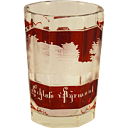 Ca.1907 German Flashed Ruby Souvenir Castle Tumbler