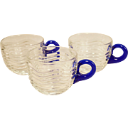 Duncan and Miller Caribbean Pattern Punch Cups, Cobalt Handle