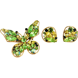 Gorgeous Green Crystal Butterfly Brooch and Earrings