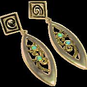 Modernist Drop Earrings, Sterling, 14K and Created Opal