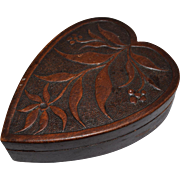 Ca. 1910 Heart Shaped Carved Wood Box