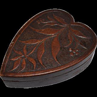 Ca. 1910 Heart Shaped Carved Wood Box
