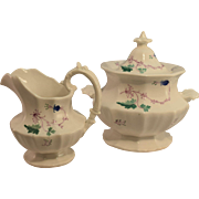 Ca. 1840 Soft Paste Hand Painted Sugar and Creamer