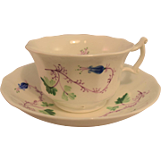 Ca. 1840 Soft Paste Hand Painted Cup and Saucer