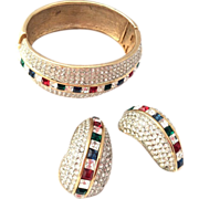 Amazing Real looking jewelry Rhinestones cuff bracelet and earrings