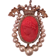 Nettie ROSENSTEIN faux Coral and pearls pin brooch