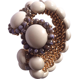 Coppola Toppo made in Italy wrap aroung cream and purple bracelet