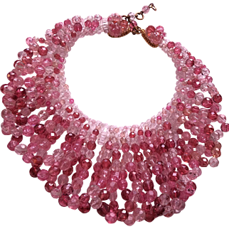 1960 Coppola Toppo Pink crystal necklace