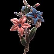 TRIFARI huge blue and pink flower fur clip pin