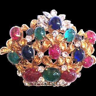 Christian DIOR 1969 flower basket pin brooch