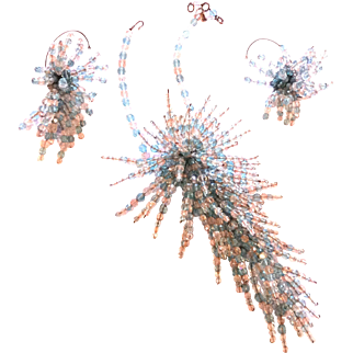 Coppola Toppo Fireworks Necklace seen on NEw York Times Magazine on Aug.1964! And Wrap around earrings SET Parure!